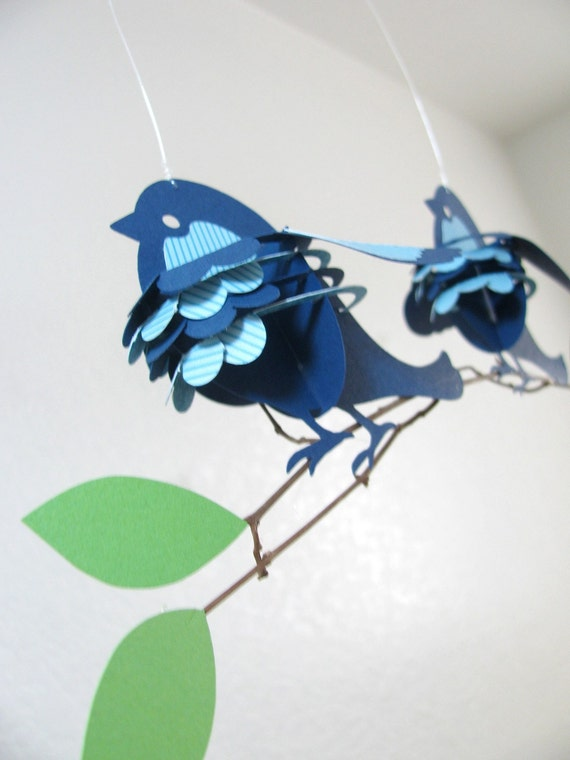 Baby Mobile, Paper Sparrow Birds in Blue