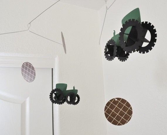 Baby Mobile, Tractors with Brown Houndstooth