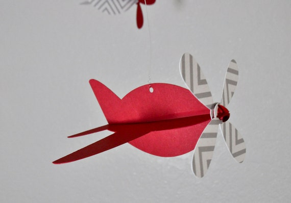 Baby Mobile, Recycled Paper Airplanes in Red