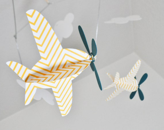 Baby Mobile, Airplanes in Yellow Chevron and  Teal