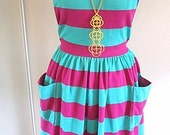 HUGE SALE Teal and Raspberry Stripped Spring halter picnic dress XS-S