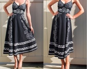 Awesome 1970s Tea Length Black and White Floral and Chevron Pattern cotton dress