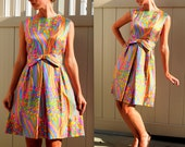 HUGE SALE Madmen style 1960s colorful silk dress with bow belt and so much detail