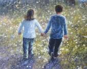Wildflower Walk Original Oil Painting - Vickie Wade art, walk hand in hand, friendship, love, landscape
