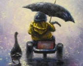 Rainy Ride Art Print little boy in rain kids wall art, kids decor, nursery decor, boy art, duck, rain, childrens wall art