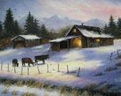Winter Farm Painting 18X24 Original Oil Painting, snow, country paintings, cows, barn paintings, Vickie Wade art
