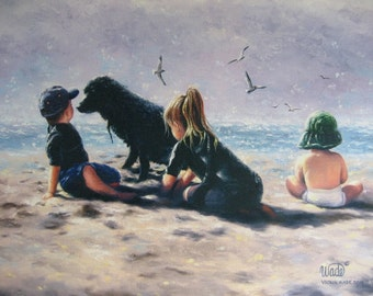Beach Children Art Print, beach children paintings, three kids on beach art, black labrador dog images, Vickie Wade Art