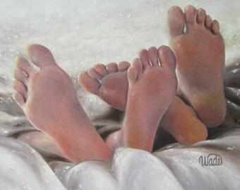 Naked Feet ORIGINAL Oil Painting 12X16, bare feet, paintings, sexy feet, bedroom wall art, wedding gift, romantic wall decor, Vickie Wade