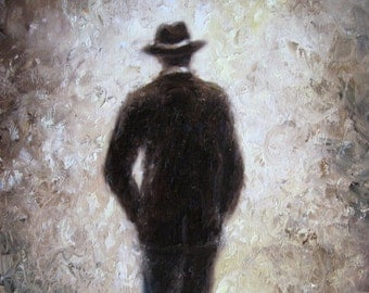 Father ORIGINAL Painting 11X14, handsome man painting, dad figurative, hat, brown art, gentleman, classy man in suit coat, Vickie Wade art
