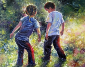 Boy and Girl Art Print, brother and sister, dancing, country kids, playing outdoors, kids dancing, green wall art,Vickie Wade art