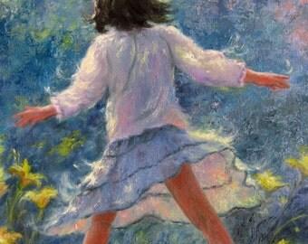 Girl Art Print, little girl paintings, girls room, kids art, dancing, twirling, girl wall decor, girl in flowers, happy girl,Vickie Wade art