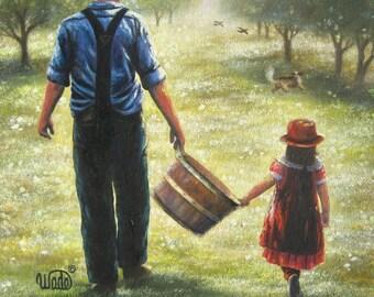 Farmer Dad Daughter Art Print apple orchard, grandpa granddaughter girl paintings prints, Vickie Wade