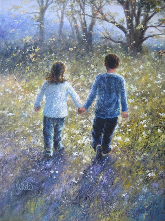 Wildflower Walk Original Oil Painting - Vickie Wade art, walk hand in hand, friendship, love, landscape