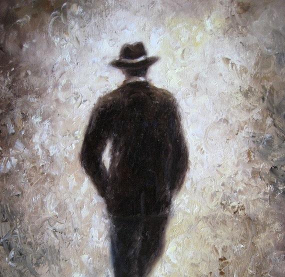 Father ORIGINAL Painting 11X14, handsome man painting, dad figurative, hat, brown art, gentleman, classy man in suit coat, Vickie Wade art
