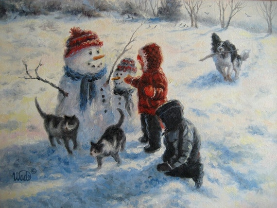 Snow Day print snowmen kids and dogs