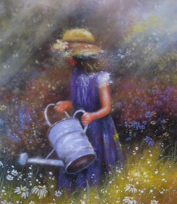 Wildflowers Art Print Garden Girl Paintings By