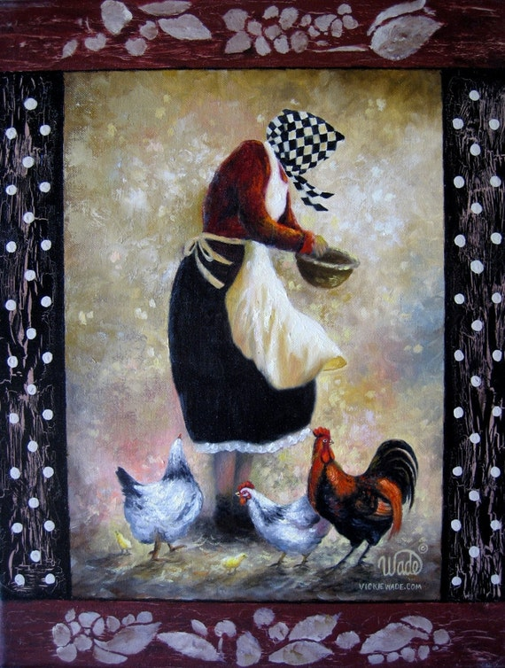 SALE Grannys Chicks Oil Painting, chicken paintings, feeding chickens, roosters, grandma feeding chickens painting