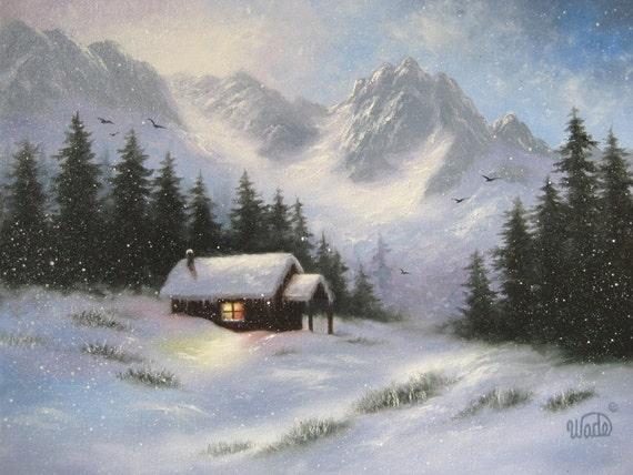 Snowy Hideaway Original Oil Painting, art, snow, cabin, mountains, paintings, winter, landscape, rustic, Vickie Wade paintings