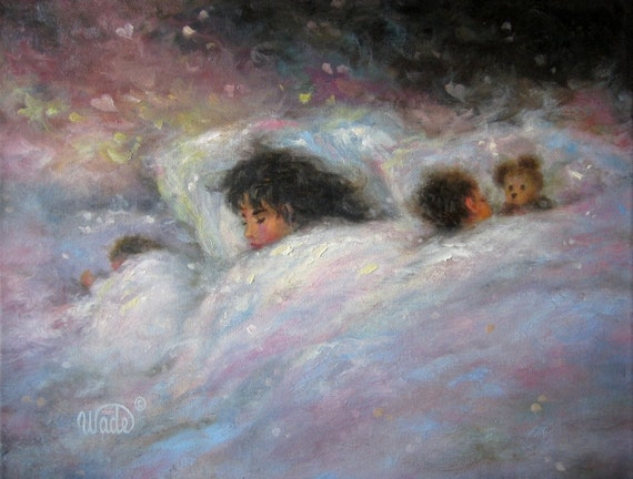 Dreamers Art Print bedroom art sleeping mother children, kids wall art, baby art, Vickie Wade