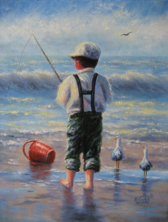 Waves - Boy2 Original Oil Painting - Vickie Wade art, boy at beach paintings, children at beach, beach boy, paintings, boy, ocean, boy