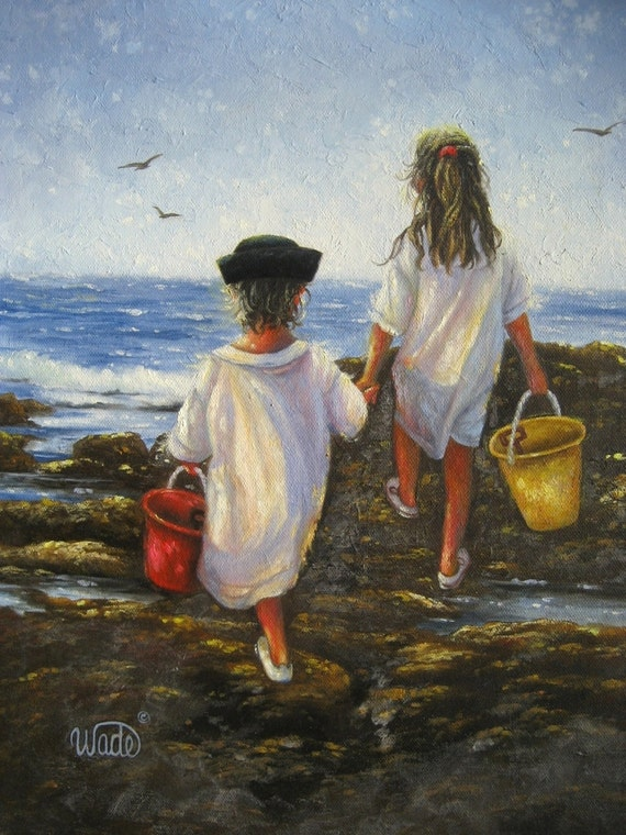 Children at beach art print beach paintings by for Paintings of toddlers