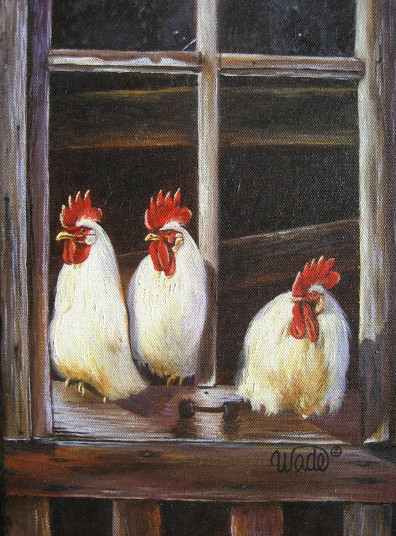 Chickens Art Print Roosters Art Chicken Paintings Rooster