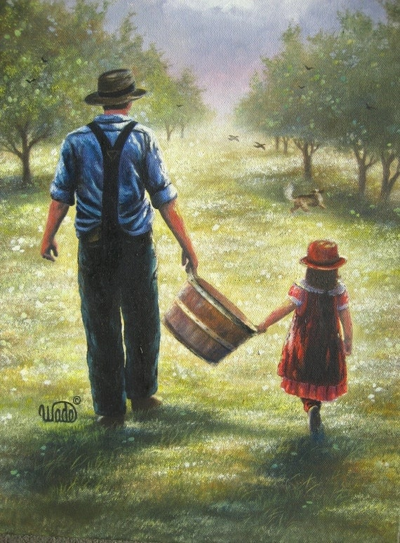 Dad Daughter Art PRINT father apple orchard, grandpa granddaughter girl paintings prints, farm, father's day gift, wall art, Vickie Wade