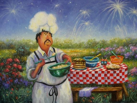 Picnic Chef Print Chef Art Fat Chefs Kitchen Art