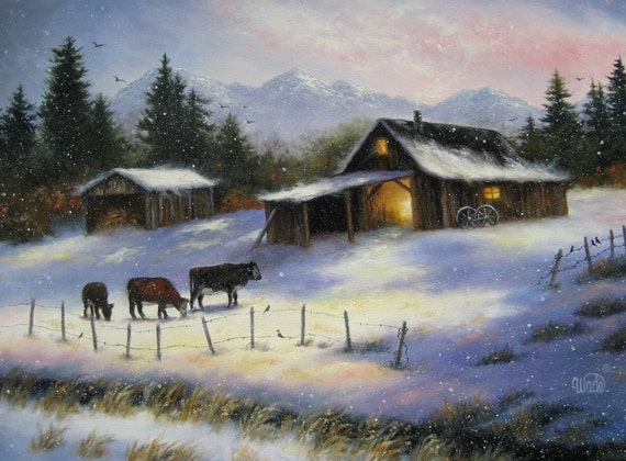 Winter Farm Painting 18X24 Original Oil Painting, snow, country paintings, cows, barn paintings, Vickie Wade art