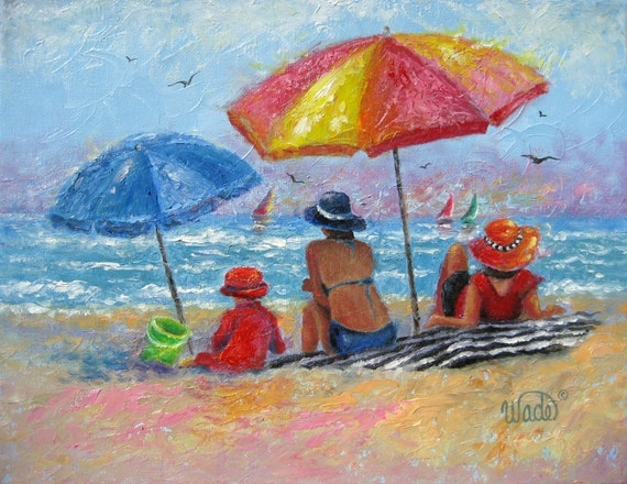 At the Beach2 Original Oil Painting Vickie Wade art, beach paintings, girls on beach, beach girls. mother, daughter, seascape