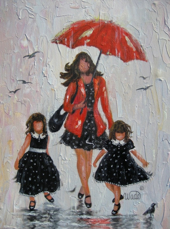 RESERVED for Char Rain Girls Original Painting mother and two