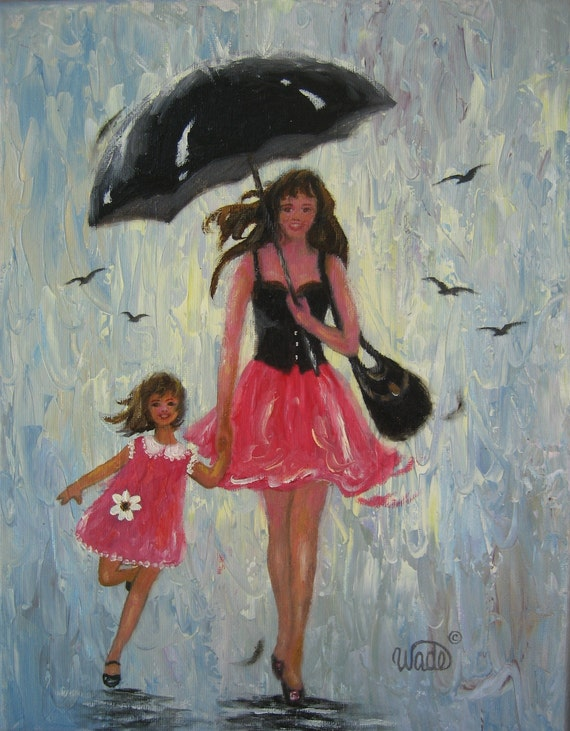 Rain Girls Original Oil Painting, mother and daughter, palette knife, singing in the rain, umbrella, Vickie Wade Art