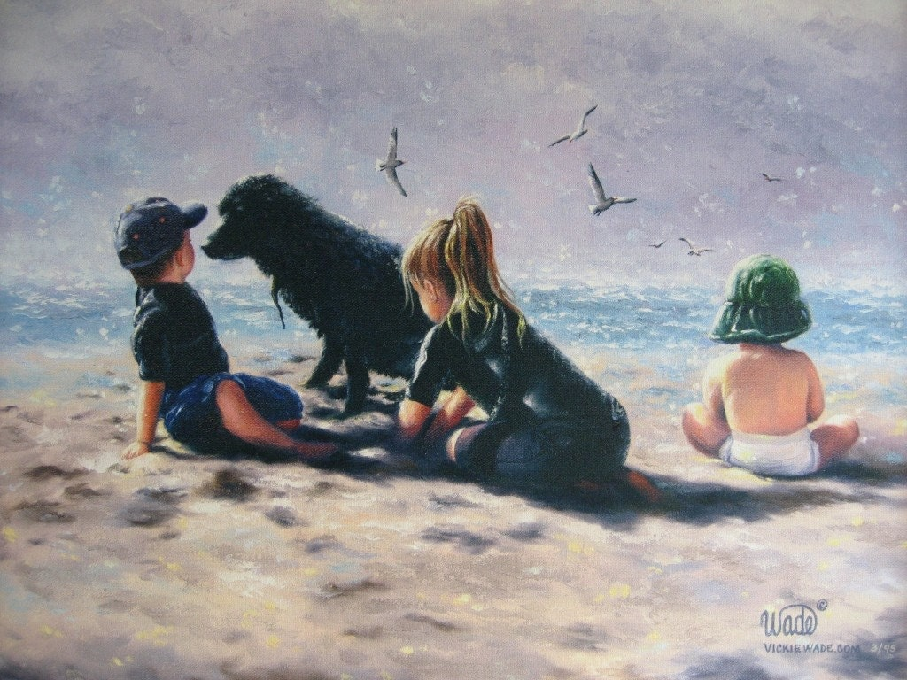 Beach Children Art Print Paintings Three Kids