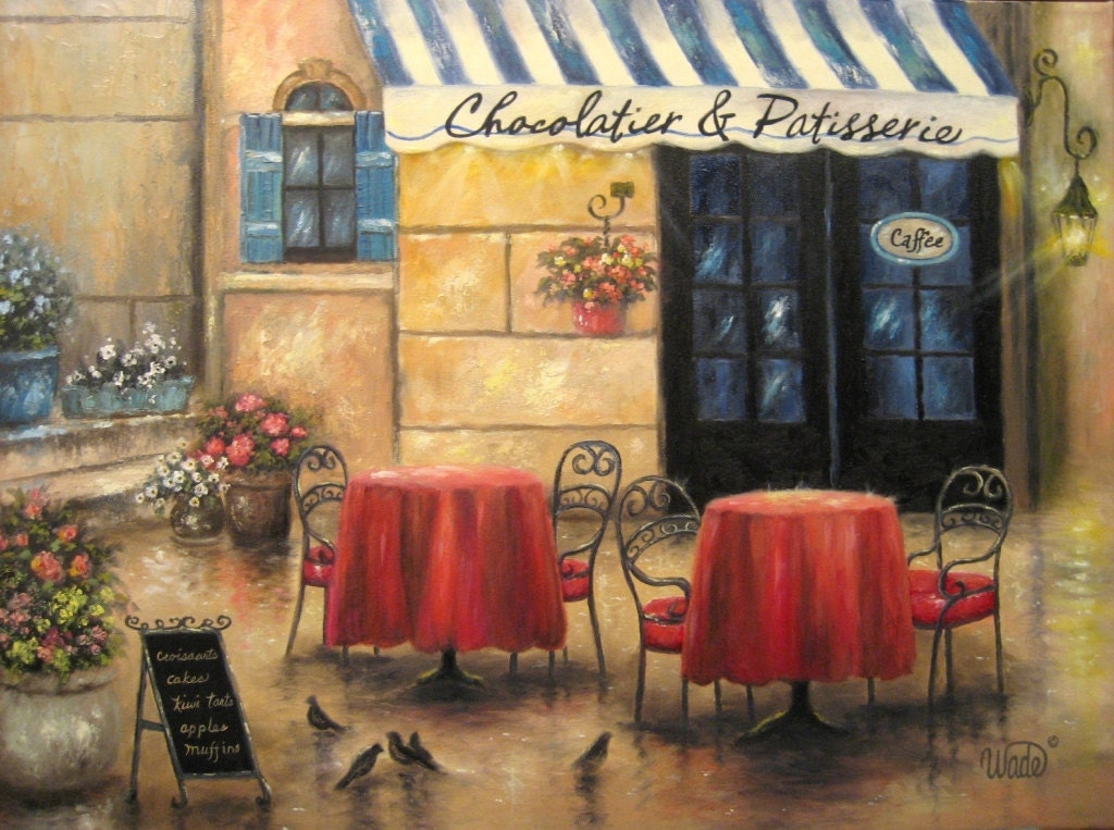 French Cafe Original 18 X 24 Oil Painting by VickieWadeFineArt Best Friends Holding Hands Girls