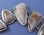 Large fossil coral/crazy lace agate sterling silver linked bracelet