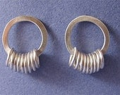 Sterling silver hammered ring of rings post earrings