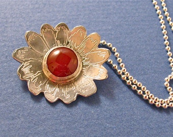 Carnelian cab etched sterling silver flower pendant necklace
