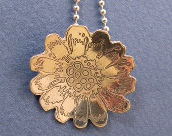 Etched sterling silver flower pendant necklace