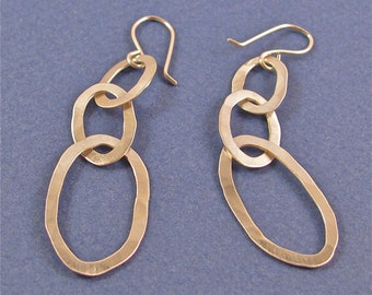 Hammered sterling silver dangle drop earrings-three graduated oval links