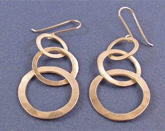 Hammered sterling silver dangle drop earrings-three graduated links