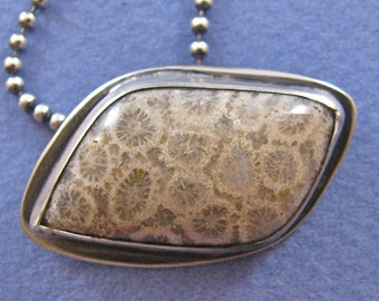 Fossilized coral sterling silver pendant necklace