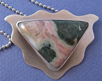 Pink/green triangular ocean jasper sterling silver pendant necklace