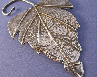 Large reticulated silver leaf brooch