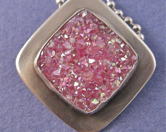 Pink square drusy sterling silver pendant necklace