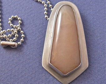 Pink chyrsoprase bezel set cab sterling silver pendant necklace