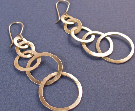earrings-five graduated hammered dangle drop links
