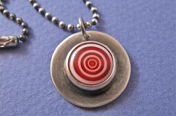 Sterling silver glass bullseye pendant