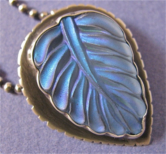 Blue glass leaf sterling silver small pendant