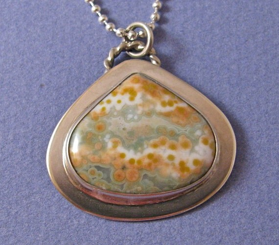 Pastel fig shaped ocean jasper sterling silver pendant necklace