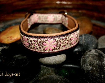 "Dog Collar ""Pinwheel Zinnia"" by dogs-art, martingale collar, leather dog collar, dog collar leather, pink dog collar, floral dog collar"